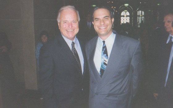 With Los Angeles Republican Mayor Richard Riordan - at City Hall to honor former Democratic Mayor Tom Bradley on his 80th birthday - 1998