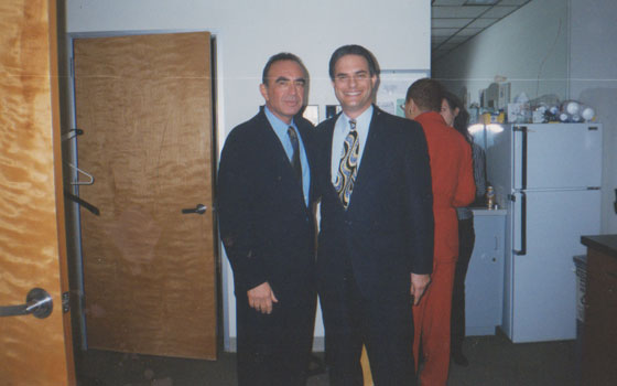 With O J Simpson lawyer Robert Shapiro in the 'green room' of 'Politically Incorrect' - about to introduce him to series host Bill Maher - 1999