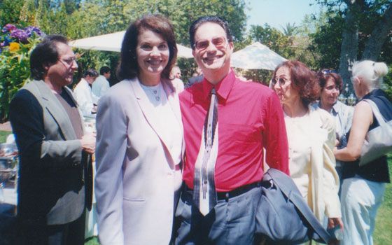 With Paramount Studios chairman Sherry Lansing - co-hosting reception in her backyard for Maryland Lt. Governor Kathleen Kennedy Townsend -2000