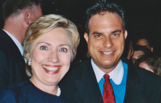 With Hillary Clinton - co-organizer and event planning committee member for fundraiser at Hollywood estate of film director Roland Emmerich - 2005