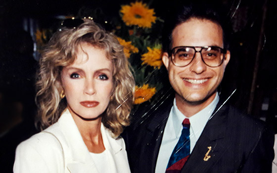 With business partner Donna Mills ('The Caller') -  at President Clinton's 50th Birthday Party - 1996